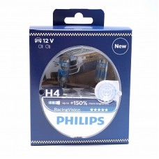 Автолампа галогеновая H4 12V 60/55W P43T RacingVision+150% 2шт (Philips)