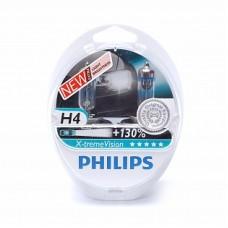 Автолампа галогеновая H4 12V 60/55W X-treme Vision+130% 2шт (Philips)