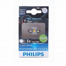 Автолампа светодиодная C5W (T14x30) 12V X-treme Vision LED 4000K (Philips)
