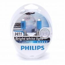 Автолампа галогеновая H11 12V 55W PGJ19-2 Crystal Vision 2шт (Philips)