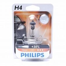 Автолампа галогеновая H4 12V 60/55W P43t Vision+30% (Philips) блистер