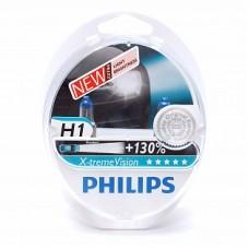Автолампа галогеновая H1 12V 55W P14.5s X-treme Vision+130% 2шт (Philips)
